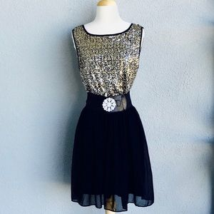 ISSI Black Dress with Gold Sequin Size M